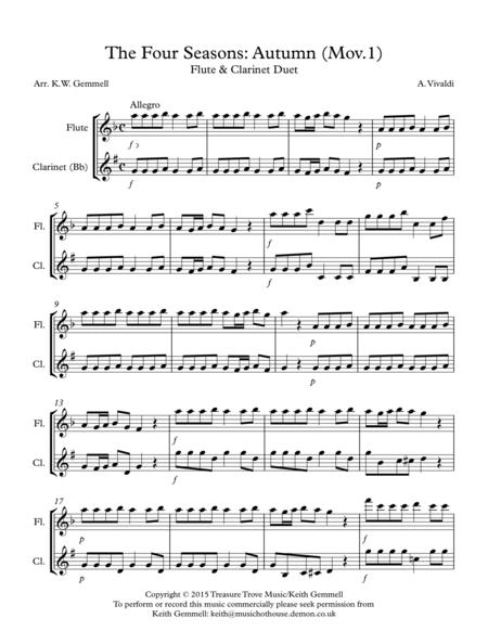 The Four Seasons - Autumn (Mov.1): Flute & Clarinet Duet