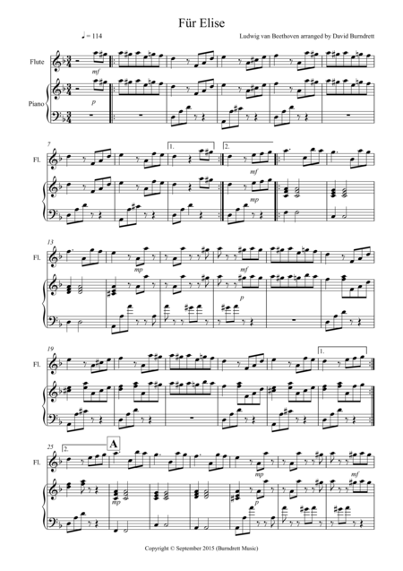 Fur Elise for Flute and Piano