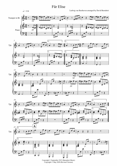 Fur Elise for Trumpet and Piano