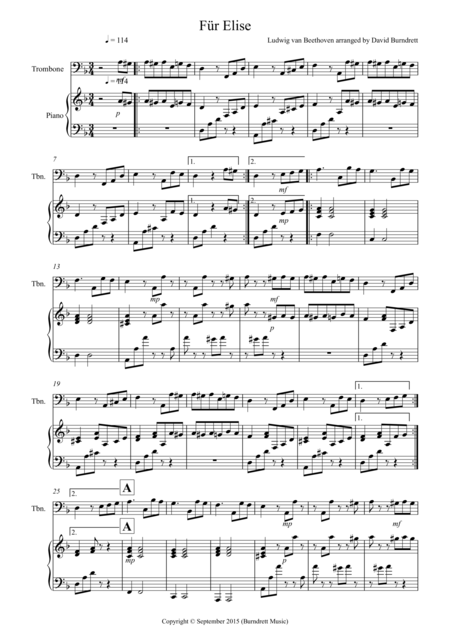 Fur Elise for Trombone and Piano