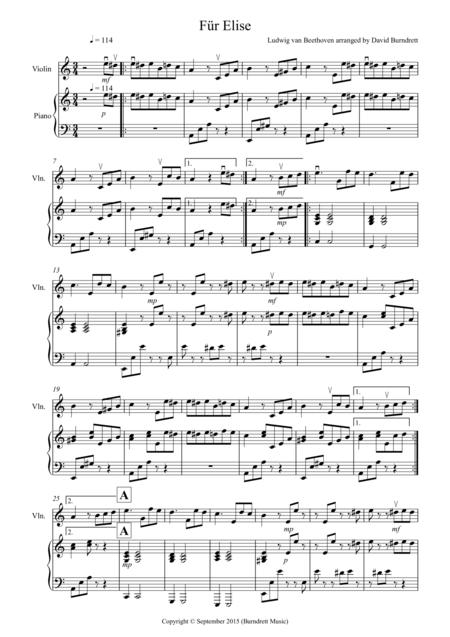 Fur Elise for Violin and Piano