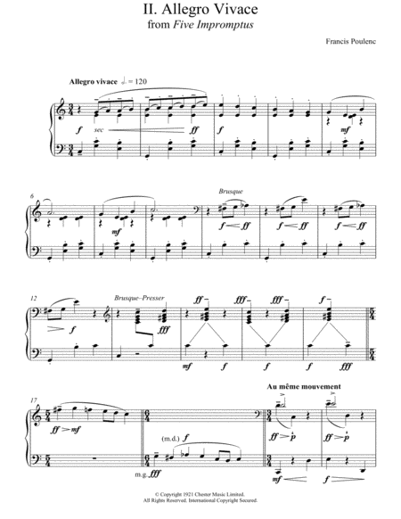 Allegro Vivace (From Five Impromptus)