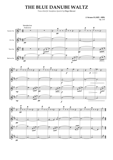 The Blue Danube Waltz for Saxophone Quartet (SATB)