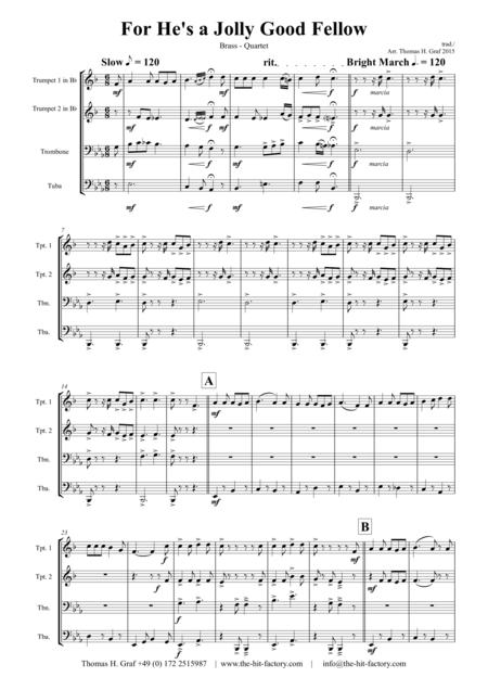 For He's a Jolly Good Fellow - Folk Song and Toast  - Brass Quartet