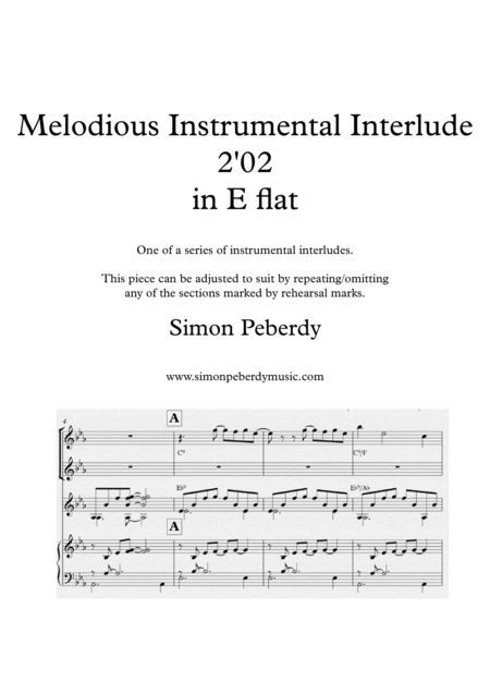 Melodious Instrumental Interlude 2'02 for 2 flutes, guitar and/or piano by Simon Peberdy