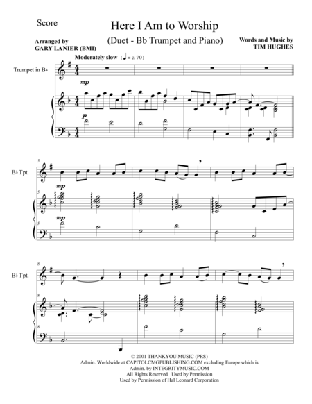 HERE I AM TO WORSHIP (Duet – Bb Trumpet  and Piano/Score and Parts)
