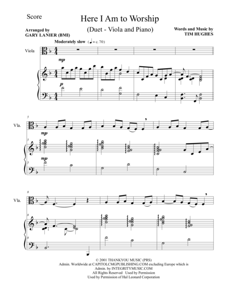 HERE I AM TO WORSHIP (Duet – Viola and Piano/Score and Parts)