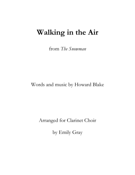Walking in the Air (Clarinet Choir)