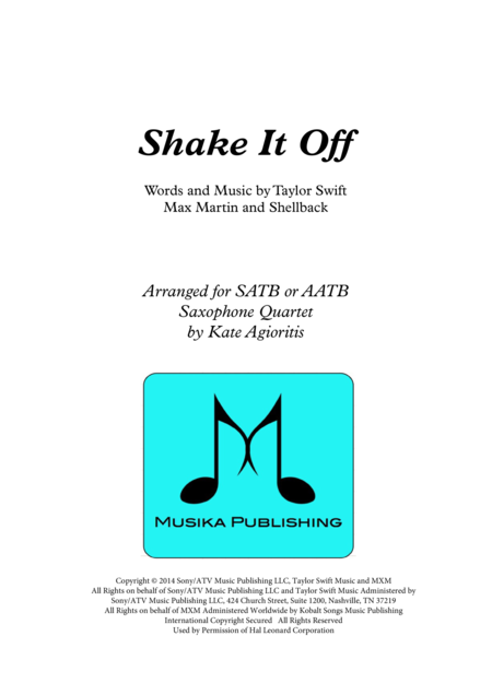 Shake It Off - for Saxophone Quartet