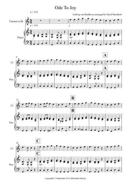 Ode to Joy for Clarinet and Piano