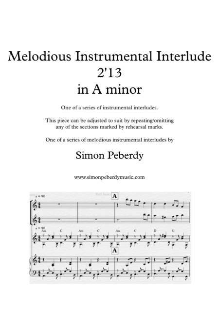 Melodious Instrumental Interlude 2'13 for 2 flutes, guitar and/or piano by Simon Peberdy