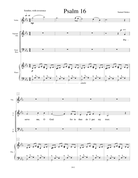 Psalm 16 - for SATB choir with piano and violin