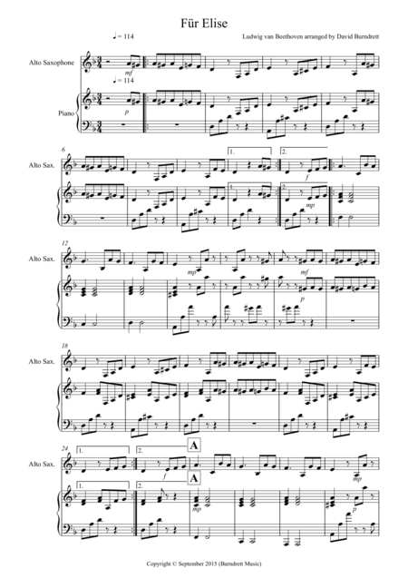 Fur Elise for Alto Saxophone and Piano