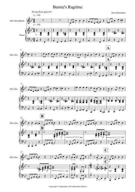 Burnie's Ragtime for Alto Saxophone and Piano