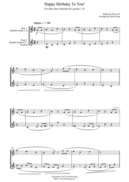 Happy Birthday To You! (for flute duet, suitable for grades 1-5)