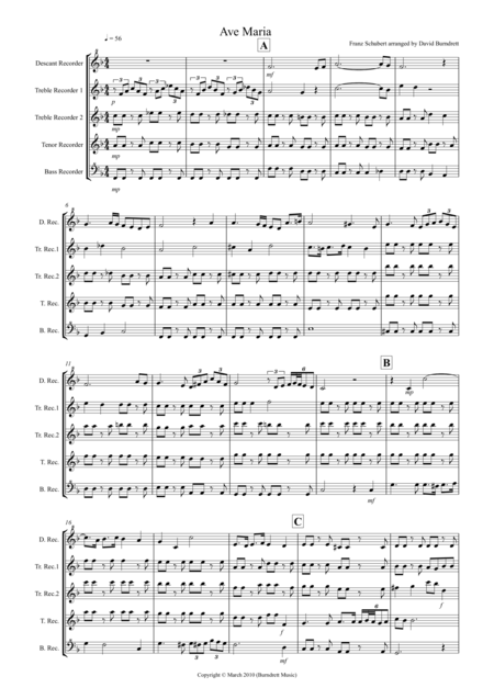 Ave Maria for Recorder Quintet