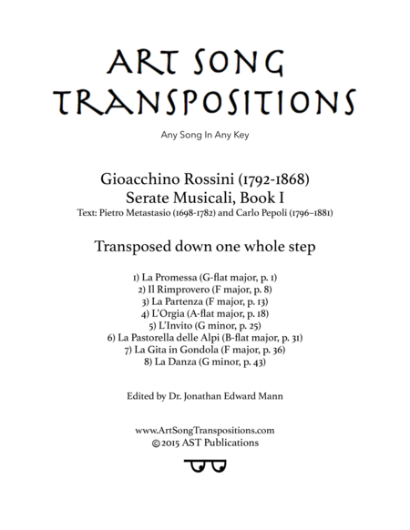 Serate Musicali, Book I (transposed down one whole step)
