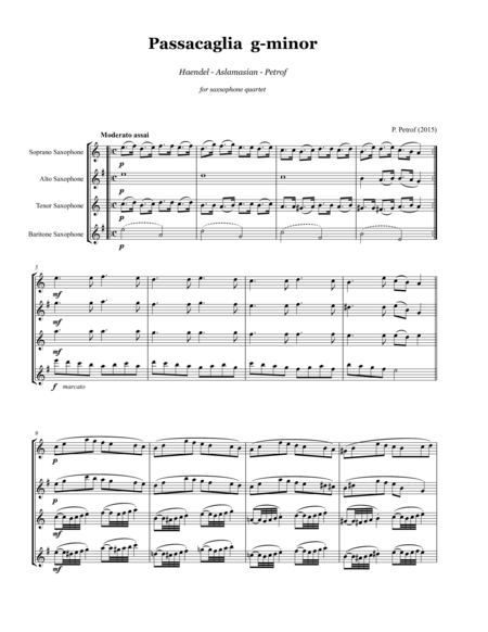 G.F.Haendel - Passacaglia g-minor - for saxophone quartet - Score and parts