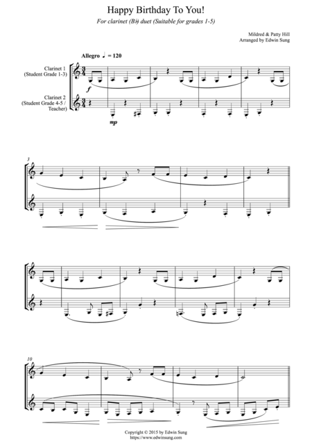 Happy Birthday To You! (for clarinet (Bb) duet, suitable for grades 1-5)