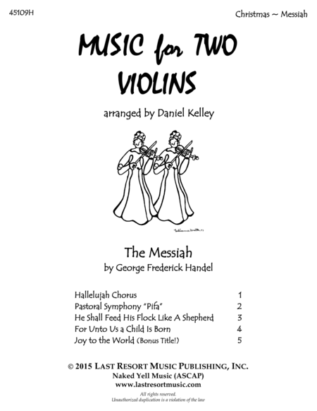 Handel's Messiah for Violin Duet - Music for Two Violins