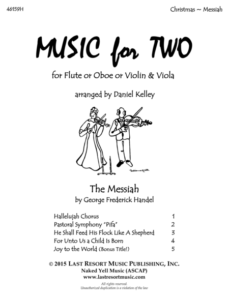 Handel's Messiah - Duet - for Flute or Oboe or Violin & Viola - Music for Two
