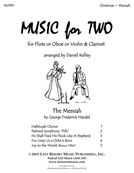 Handel's Messiah - Duet - for Flute or Oboe or Violin & Clarinet - Music for Two