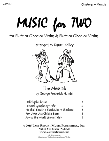 Handel's Messiah - Duet -  for Flute or Oboe or Violin & Flute or Oboe or Violin - Music for Two