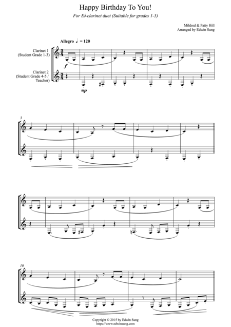 Happy Birthday To You! (for Eb-clarinet duet, suitable for grades 1-5)