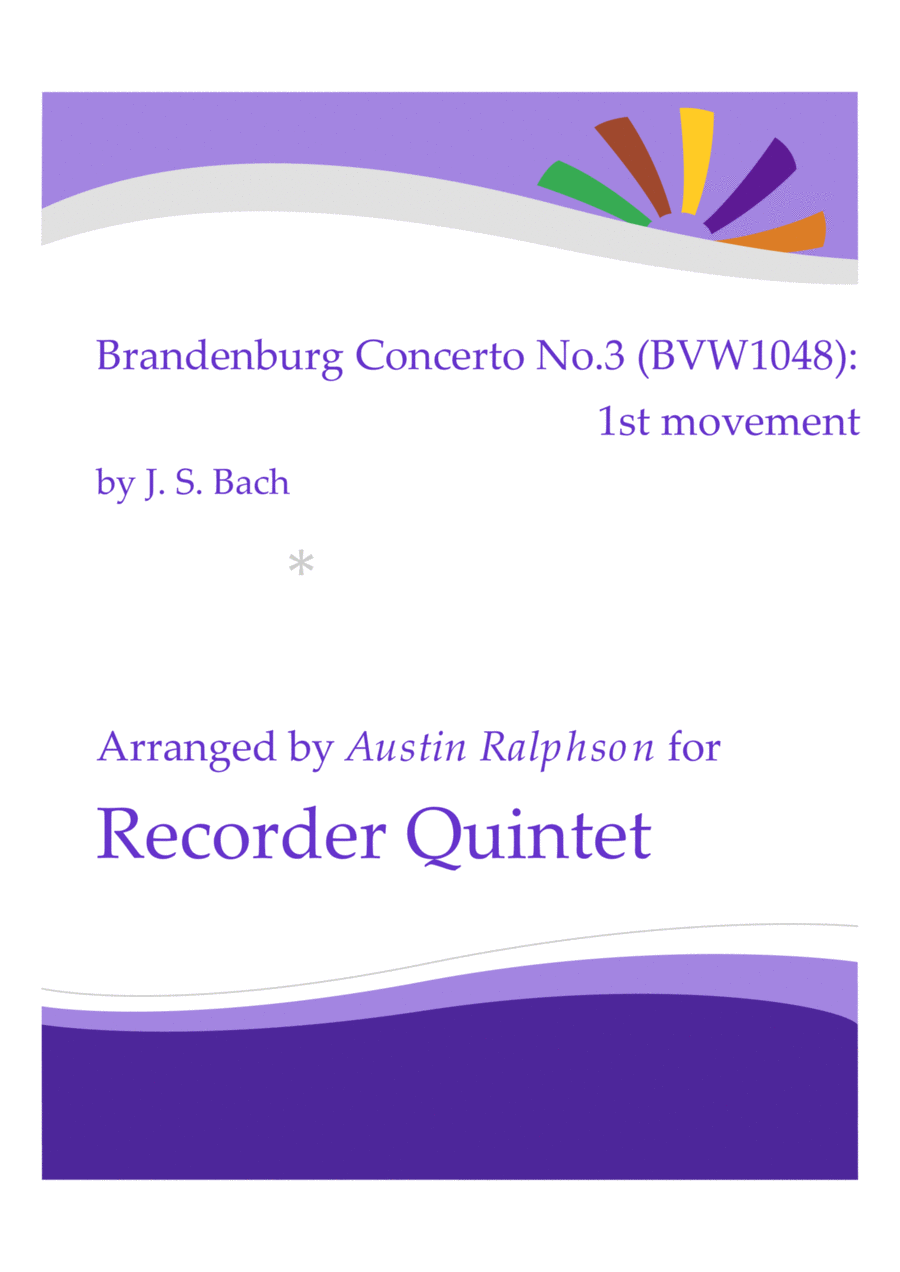 Brandenburg Concerto No.3, 1st movement - recorder quintet
