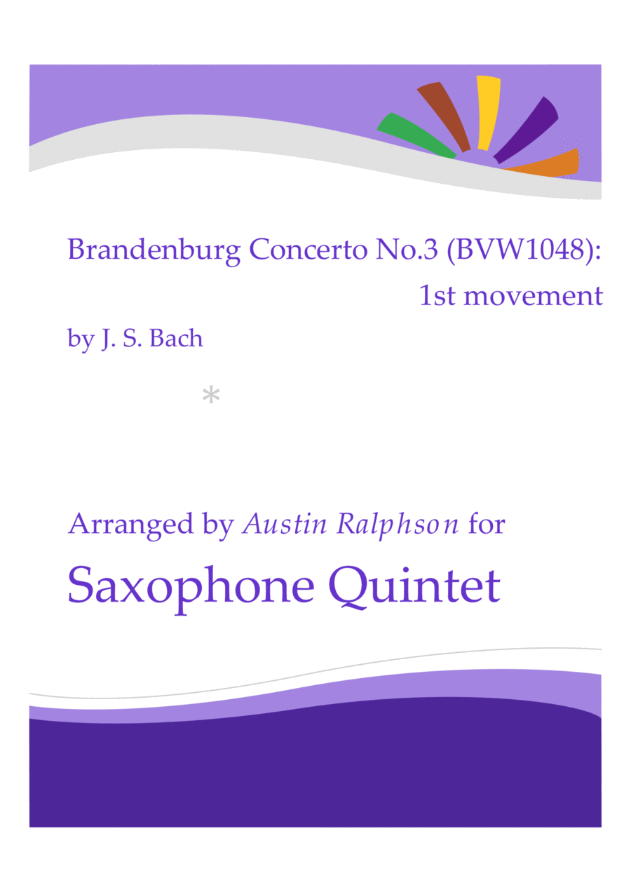 Brandenburg Concerto No.3, 1st movement - sax quintet