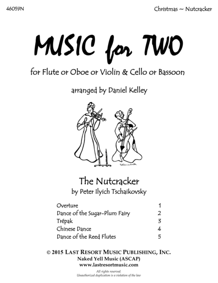 The Nutcracker - Duet - for Flute or Oboe or Violin & Cello or Bassoon - Music for Two