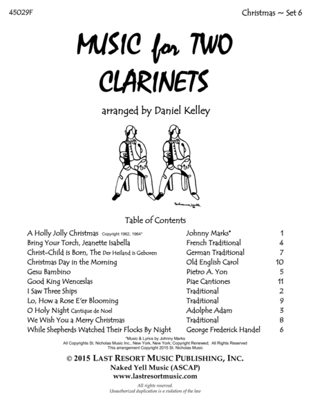 Christmas Duets for Clarinet - Set 6 - Music for Two Clarinets