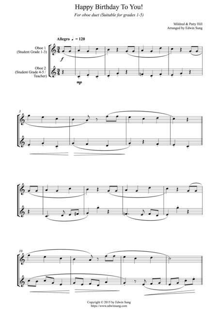 Happy Birthday To You! (for oboe duet, suitable for grades 1-5)