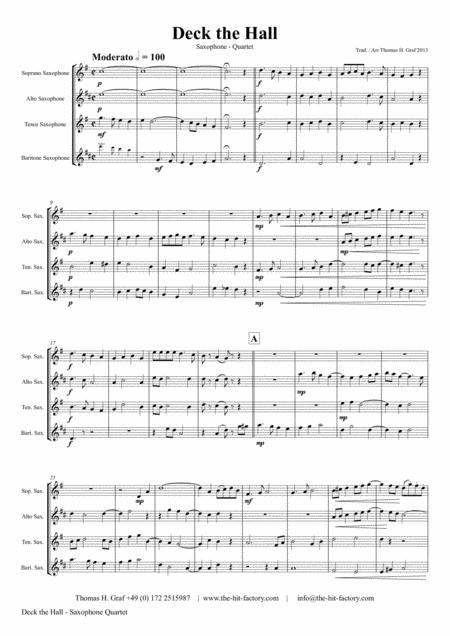 Deck the halls - Christmas Carol - Polyphonic - Saxophone Quartet