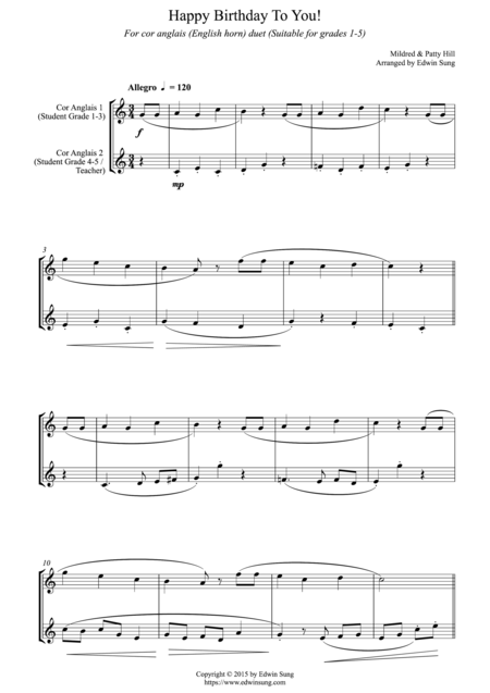 Happy Birthday To You! (for cor anglais (English horn) duet, suitable for grades 1-5)