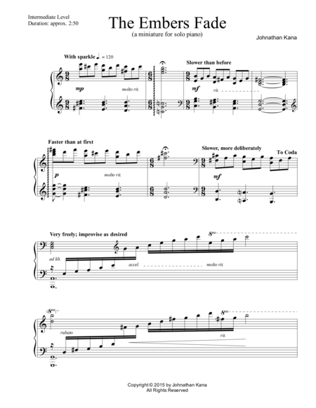 The Embers Fade (a miniature for solo piano)