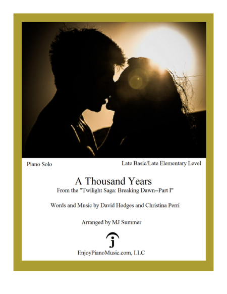 a thousand years piano pdf