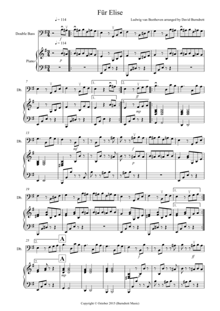 Fur Elise for Double Bass and Piano