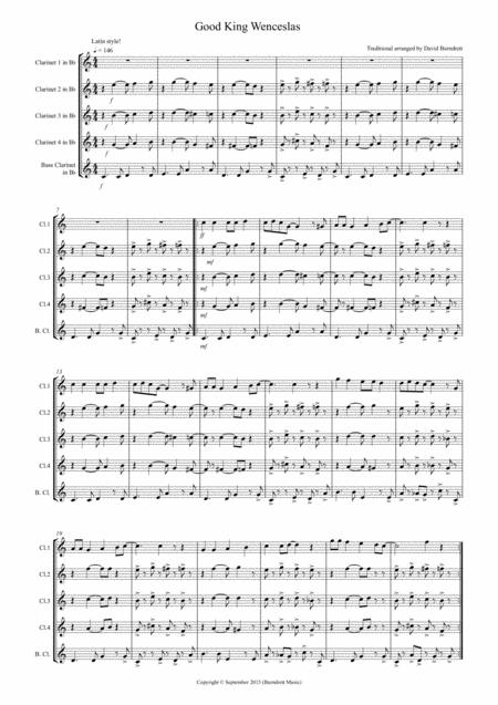 Good King Wenceslas (Latin Style!) for Clarinet Quintet