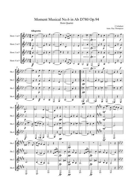 Schubert: Moment Musical No.6 in Ab D780 Op.94 - horn quartet