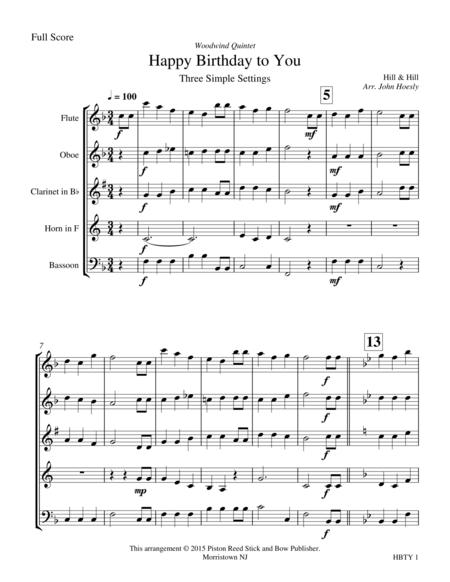 Happy Birthday- woodwind quintet