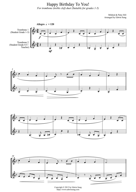 Happy Birthday To You! (for trombone duet (treble clef) duet, suitable for grades 1-5)