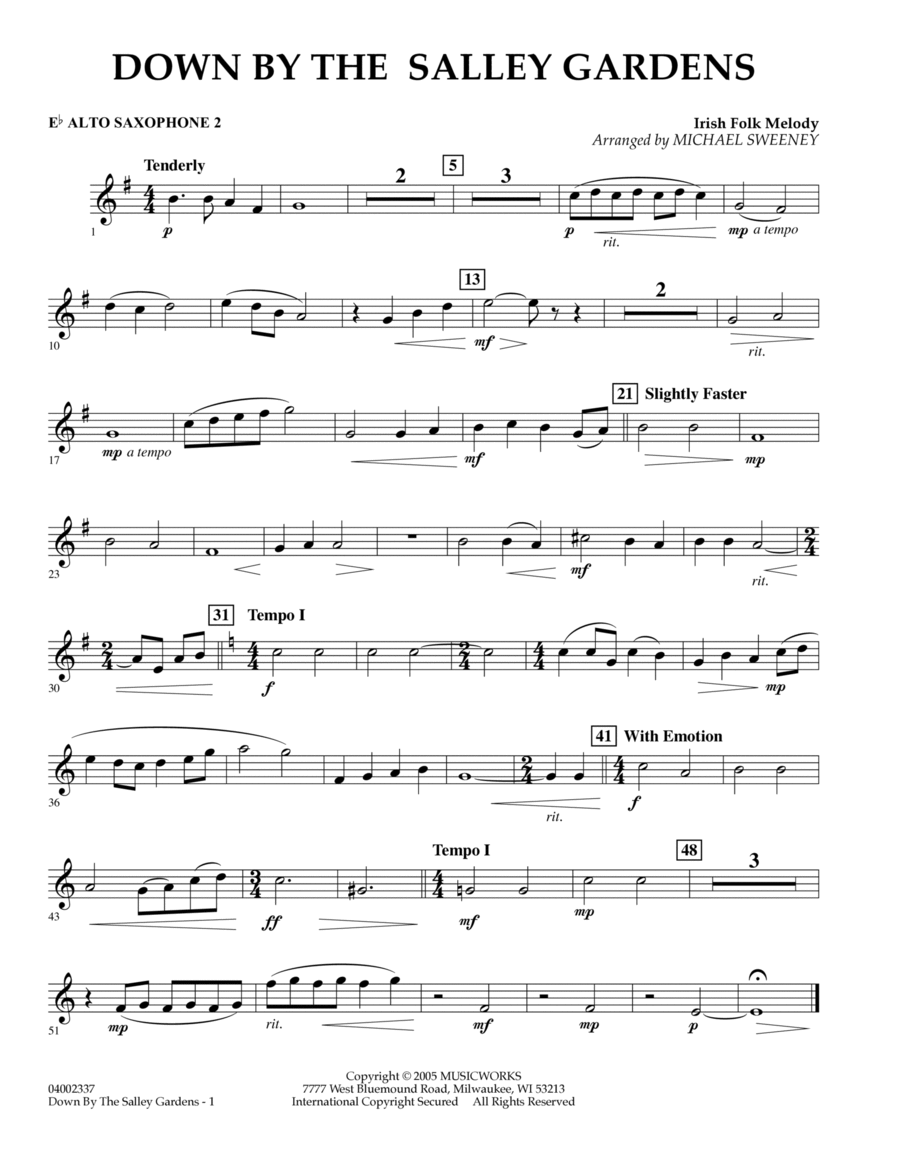 Down by the Salley Gardens - Eb Alto Saxophone 2