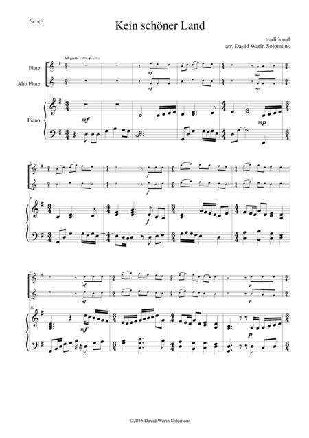 Kein schöner Land for flute, alto flute and piano