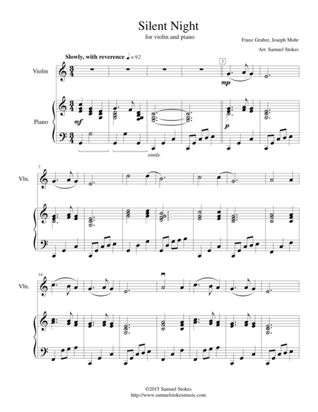 Silent Night - for violin and piano