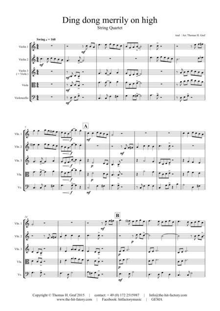 Ding dong merrily on high - Swing - String Quartet