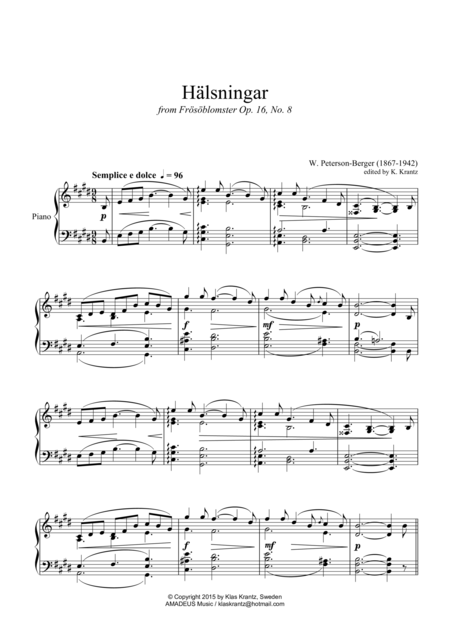 Hälsningar for piano solo
