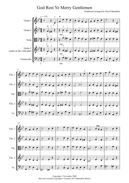 God Rest Ye Merry Gentlemen for String Quartet