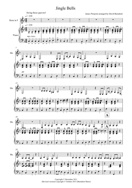 Jingle Bells (Jazzy Style!) for French Horn and Piano