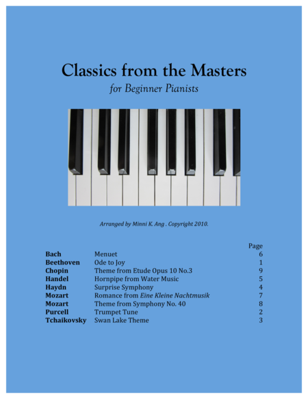 Classics from the Masters, for Beginner Pianists